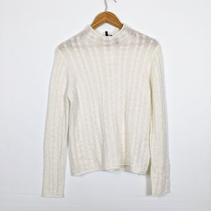 Theory Roll Neck Cable Knit Sweater Cashmere Ivory